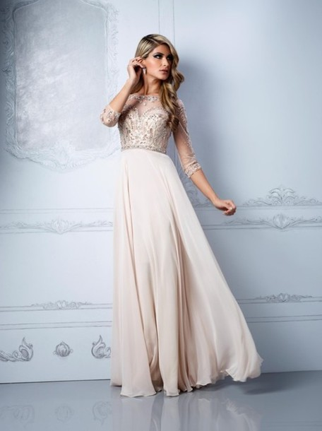 Cream Long Dress - RP Dress