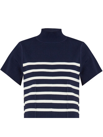 top striped top navy white