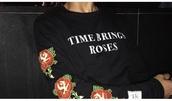 sweater,sweatshirt,roses,floral,nike,adidas,tumblr,vintage,trendy,fashion,girl,teenagers