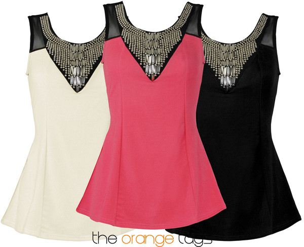 blouse sleeveless bodycon top women mesh bead trim peplum party party top necklace metal tin-tack coral black cream sexy evening outfits summer spring metallic paws