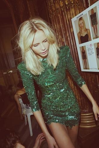 dress green sequin dress sequins short dress shoulder pads