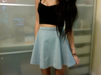 skirt skater skirt circle skirt crop tops blue skirt