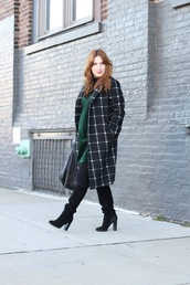 tf diaries,blogger,dress,coat,top,tights,shoes,bag,maternity dress,maternity,winter outfits,dress over t-shirt,green dress,boots,knee high boots