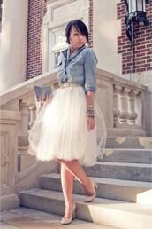 skirt,tulle skirt,white,pretty,dress,spring outfits