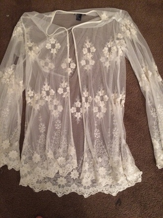 cardigan forever 21 lace white flowers