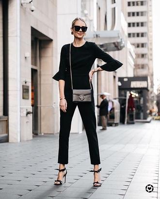 jumpsuit black jumpsuit sunglasses black sunglasses bag black bag sandal heels high heel sandals sandals black sandals date outfit