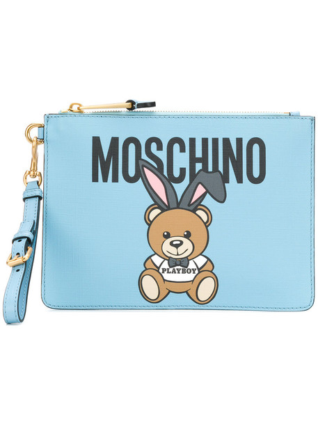 Moschino women clutch blue bag