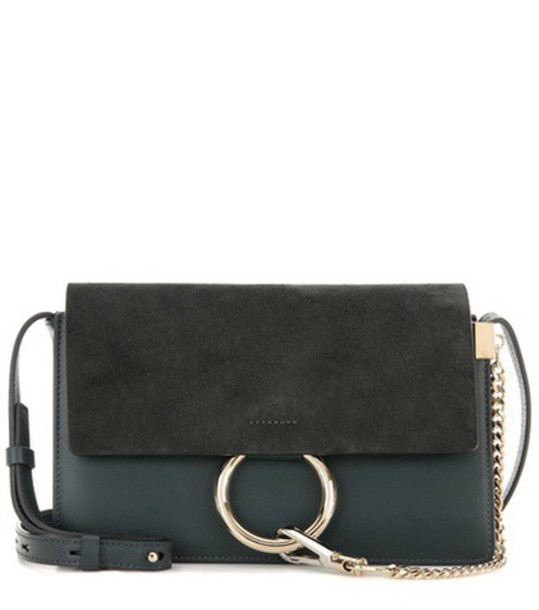 Chloé Faye Small Suede And Leather Shoulder Bag in green