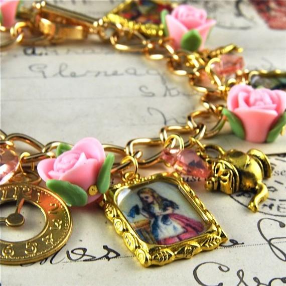 Alice in wonderland charm bracelet in gold with par pennymasquerade