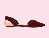 shoes,burgundy,burgundy flats,pointed shoes,gold,flats
