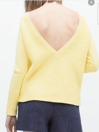 sweater yellow knitted sweater knitwear vn v neck back