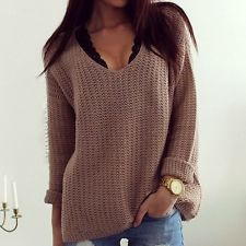 Women Loose Long Sleeve Knit Sweater Tops Jacket V- Neck Pullover Jumper Coat