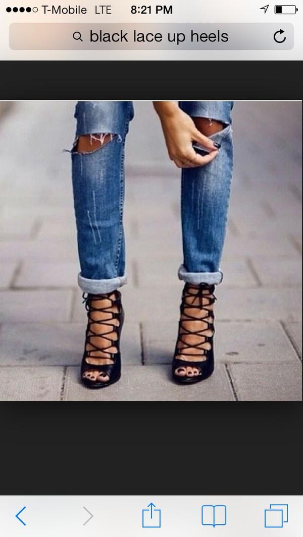 shoes black high heels high heels laces black jeans