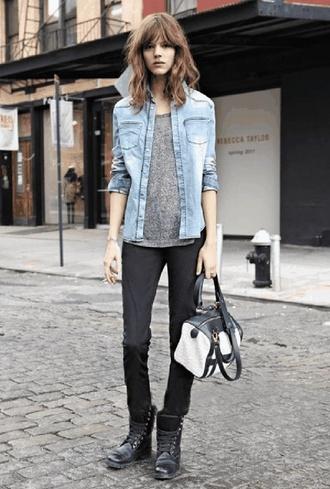 jacket grey shirt denim jacket black jeans black and white bag combat boots blogger