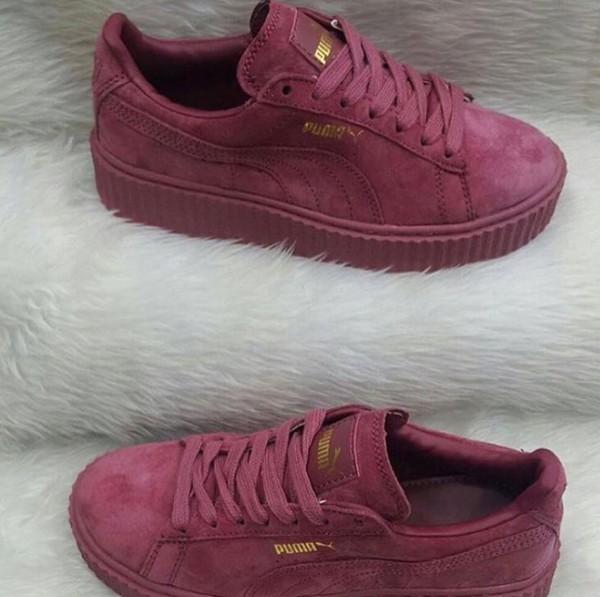 shoes puma suede sneakers low top sneakers purple