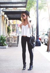 bag,black,leather,white,tank top,sunglasses,shoes,hat,high heels,ankle boots,white crop tops,white summer top,shades,lennon shades,black bag,dark jeans,t-shirt,jeans,shirt,blouse,top,white top,white singlet,lace singlet,black fedora,boots,black high heels,little black boots,black and white,lace,summer top,fashion,cool,instagram