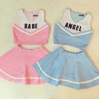 top pink blue blue skirt pink skirt pastel pastel pink cheerleading two-piece