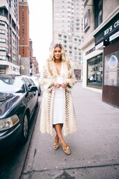 the courtney kerr,blogger,bodycon dress,fur coat,white dress