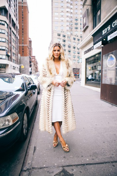 the courtney kerr blogger bodycon dress fur coat white dress