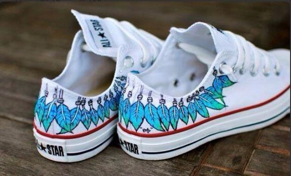 white feathers shoes converse blue cool girl style