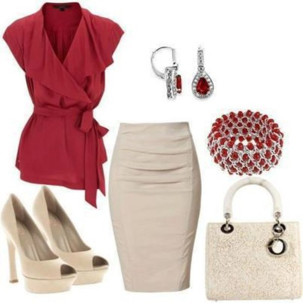 blouse skirt shoes earrings bracelets jewels bag red blouse perfect for pencil skirt love the accessories shirt clothes burgundy red nude high heels accessories make-up socks
