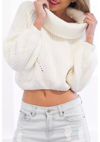 sweater oversized turtleneck sweater choies high roll neck white knit sweater long sleeves ribbed trim lookbook store dream closet couture cropped crop tops white knit knitwear cropped sweater oversized turtleneck white sweater loose top fall outfits sexy sexy sweater sexy girl girly women retro fashionista fashion blouse knitted sweater