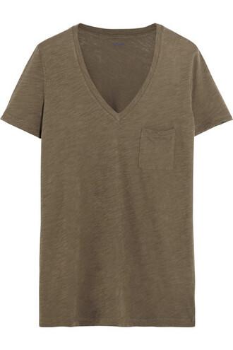 t-shirt shirt cotton green army green top