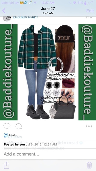 blouse teal green flannel plaid long sleeves jeans timberlands black baddiekouture_ michael kors watch bag dress phone cover shoes underwear
