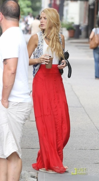 skirt red blake lively jacket shirt gossip girl top vest summer serena van der woodsen dress blouse