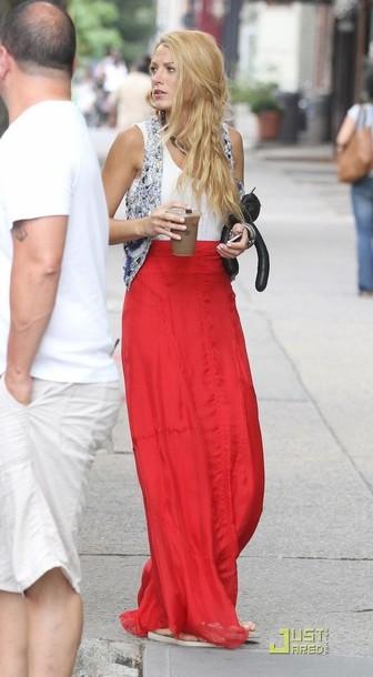 skirt red blake lively jacket shirt gossip girl top vest summer serena van der woodsen dress blouse