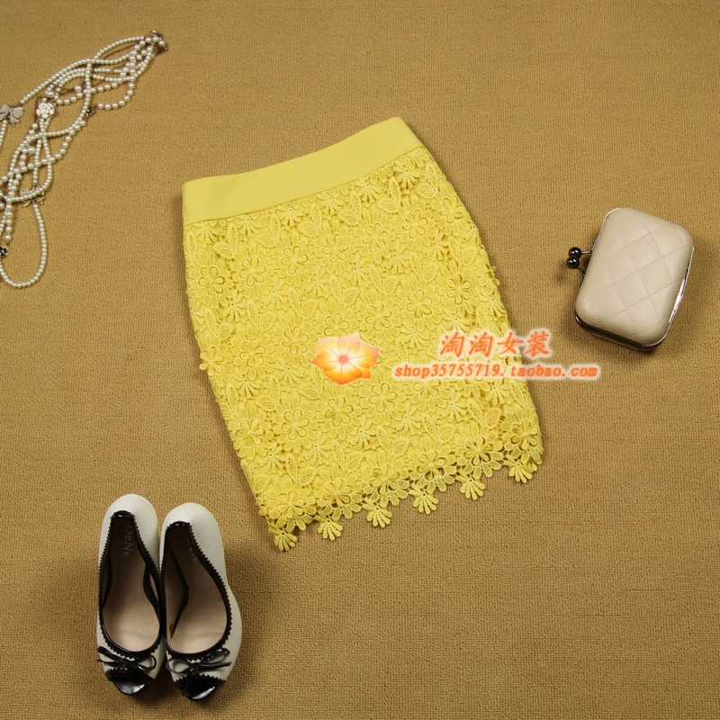 2 women's 2013 spring and summer cutout embroidered lace yellow slim hip pencil short skirt medium skirt-inSkirts from Apparel & Accessories on Aliexpress.com