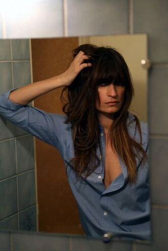 shirt caroline de maigret fashionista model blue shirt brunette hairstyles bangs