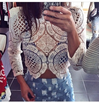 blouse top see through white long sleeves crop tops crochet