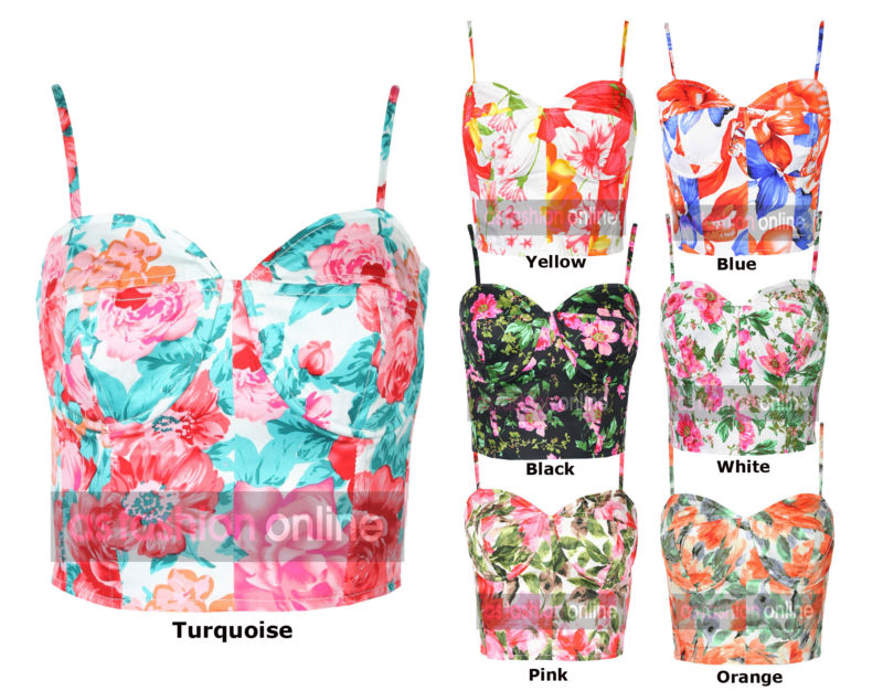 272a809f1ba New Womens Zip Back Floral Printed Boobtube Bralet Cropped Bra ...