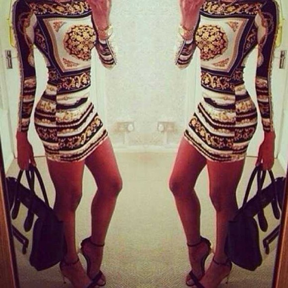 bodycon dress print chain pattern ebonylace-streetfashion ebony lace