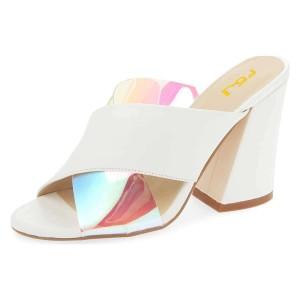White Hologram Clear Mule heels Cross Strap Sandals