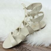 shoes,peppermayo,lipstik shoes,ivory,ivory shoes,ivory sandals,lace up sandals,jesus sandals,lipstik