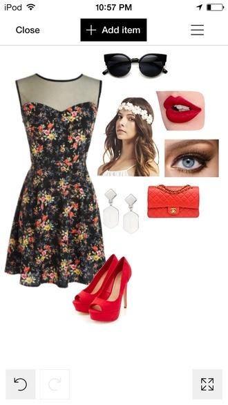 sunglasses red dress white red lipstick red heels flower dress