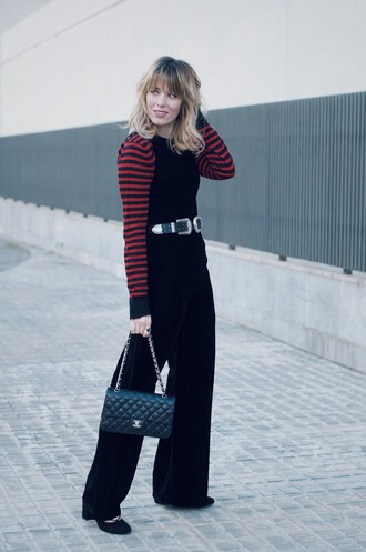 macarenagea blogger jumpsuit sweater belt bag shoes black jumpsuit chanel bag fall outfits