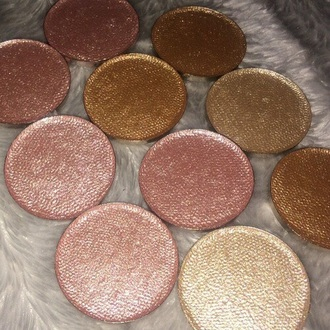 make-up loose shadows eye shadow pink gold white metallic pink pansies fur nude bronzer girly