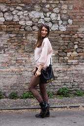 style and trouble,blogger,shorts,tights,moschino,bucket bag,pink sweater