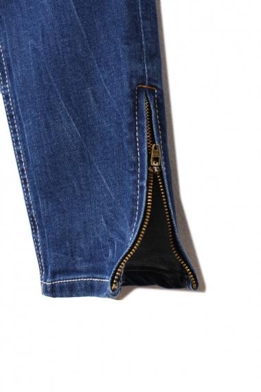 Blue Acid Wash Zip Detail Trousers