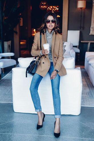 jeans cuffed jeans blue jeans top striped top coat camel coat pointed toe pumps pumps bag black bag shoulder bag sunglasses viva luxury blogger black pumps fall outfits