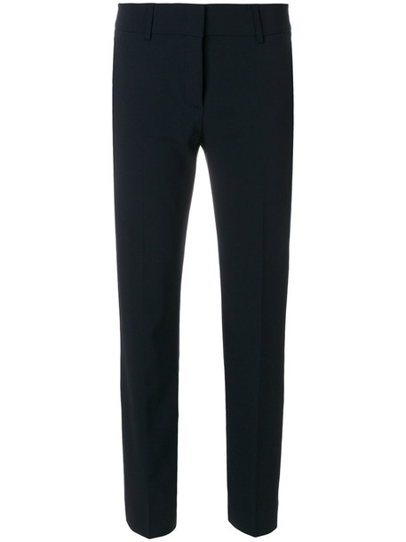 Piazza Sempione cropped women spandex blue wool pants