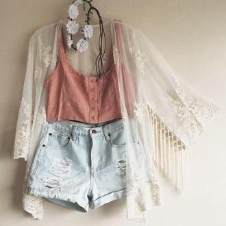 shorts crop tops hipster high waisted shorts kimono shirt cardigan