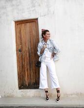 le fashion image,blogger,jewels,jacket,bag,jeans,shoes,denim jacket,white jeans,spring outfits