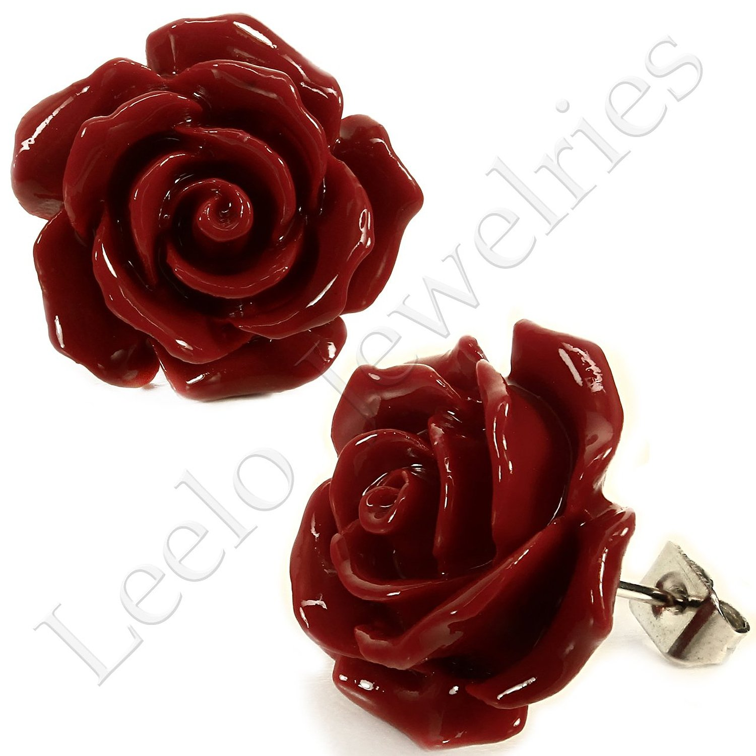 polymer studs jewelry ruby hugerect round red clay handmade earrings stud posts product