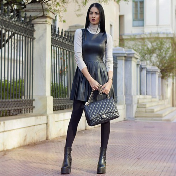 dress black leather bag shoes black outfit classy winter outfits grey sweater