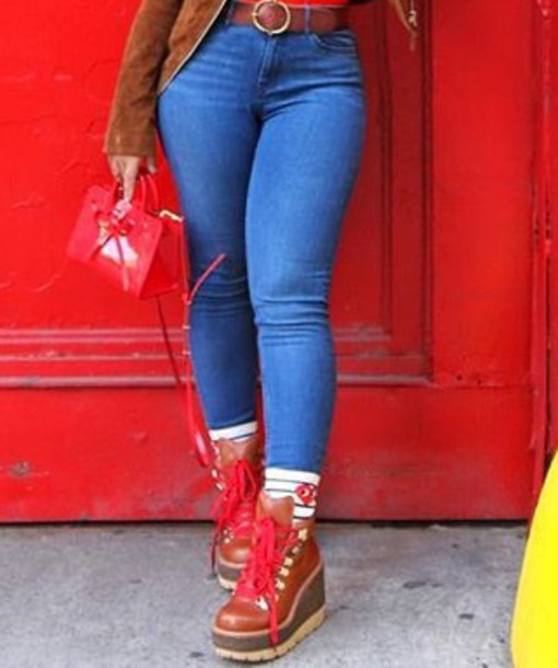 shoes brown wedge boots red laces