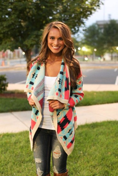 pink cardigan white black blue teal fall outfits blouse aztec colorful bright tribal pattern boho bohemian sweater style